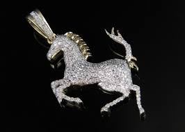 ferrari diamond 10k yellow gold ferrari logo horse 1 5 inch genuine diamond