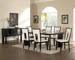 Black White Dining Table Chairs White Leather Chairs With Rectangle On The Back Feat Black