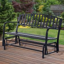Patio Glider Bench Outsunny Metal Rocking Bench 127wx 66dx 90 5h Cm Black Aosom Co Uk