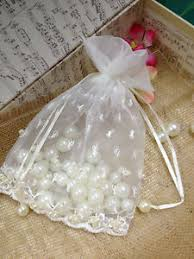 organza favor bags 5 x7 white wedding favor lace w pearl bag organza favor bags 1ct