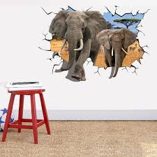 elephant break through wall creative decal stickers removable kids elephant break through wall creative decal stickers removable kids nursery decor art african animal 70 x 100cm home decor cool wall decals cool wall