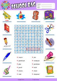schoolbag esl printable worksheets for kids 1