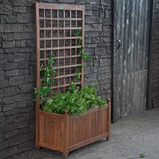 large and tall wood herb planter box with trellis and wheels
