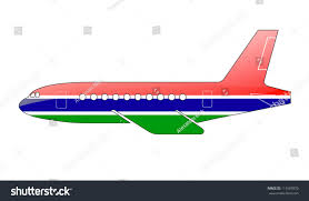 Gambia Flag Gambia Flag Painted On Silhouette Aircraft Stock Illustration