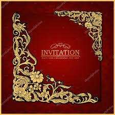 Wallpaper Invitation Card Abstract Background With Antique Luxury Red Vintage Frame
