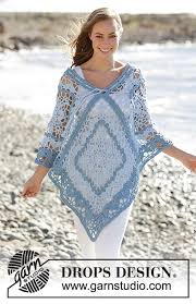 drops design poncho tide poncho with lace pattern and stripes by drops design free
