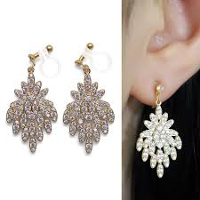 bridal clip on earrings sparkle filled bridal dangle gold cubic zirconia drop