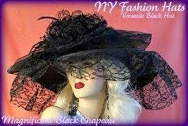 ladies black wide brim lace designer dress hat hats for weddings