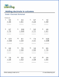 grade 4 decimals worksheets free printable k5 learning - Addition And Subtraction Worksheets For Grade