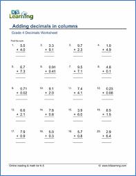 grade 4 decimals worksheets free u0026 printable k5 learning
