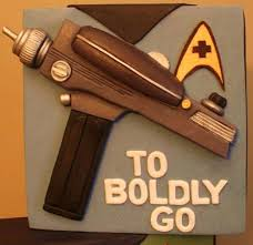 star trek cake has a phaser tricorder and communicator mightymega