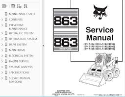 bobcat 863 863 high flow skid steer loaders service manual pdf