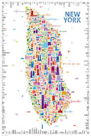 Chicago Neighborhood Map Poster by Whimsical Map Colorfully Details 400 New York Icons City