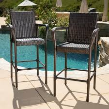 Christopher Knight Patio Furniture Reviews Delfina Outdoor Wicker Bar Stool Set Of 2 By Christopher Knight