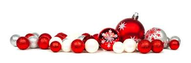 red and silver christmas ornaments border stock photo 48135561