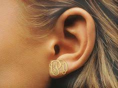 Gold Monogram Earrings 14k Yellow Gold Monogram Earring Monograms Samuels Jewelers And