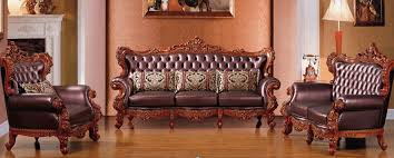 Leather And Wood Sofa Style Carved Wood Frame Leather Sofa Set Best Price