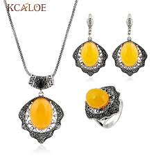 vintage necklace sets images Kcaloe yellow natural stone turkish jewellery set antique silver jpg