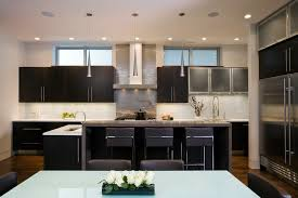 stainless steel tile backsplash kitchen contemporary with 2 tone