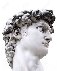 head of a famous statue by michelangelo david from florence