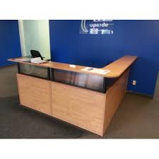 Reception Desk With Transaction Counter Sugar Maple L Suite Reception Desk W Transaction Counter Allsold