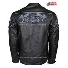 motorcycle jackets for men reflective skulls crossover leather jacket extreme biker wear