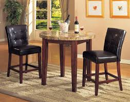 Wooden Dining Table With Marble Top Luxury Kitchen Pub Table Chairs Featuring Brown Wooden Table With