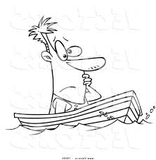 vector cartoon man drifting boat outlined coloring