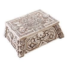 aztec white resin trinket box 5 3 4 inches bone finish antique