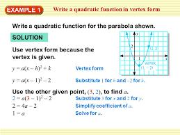 write a quadratic function in vertex form