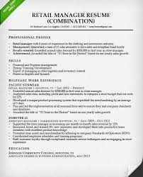 Results Oriented Resume Examples by Resume Examples For Retail Retail Manager Combination Resume