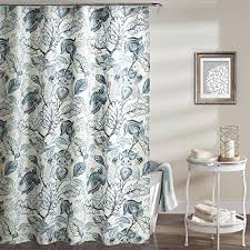 Aqua Blue Shower Curtains Aqua Blue White Graphical Nature Themed Shower Curtain Polyester