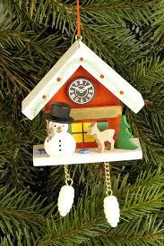 tree ornament cuckoo clock with snowman 6 7 6 3 cm 2 6 2 5