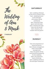 Wedding Itinerary For Guests Old Lace Florals Wedding Itinerary Templates By Canva