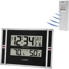 Digital Atomic Desk Clock La Crosse Technology Digital Atomic Wall Clock Walmart Com