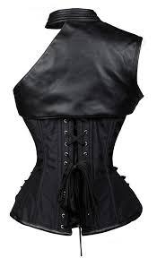 vintage black armour steampunk overbust corset 101422
