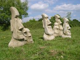 easter island family heads garden tiki statue ornament berkshire