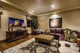 Media Game Room - venetian plaster for a modern living room with a fireplace and