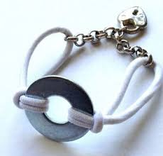 ponytail holder bracelet white silver washer chain link heart ponytail holder