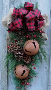 christmas swag holiday door wreath sleigh bells woodland wreath