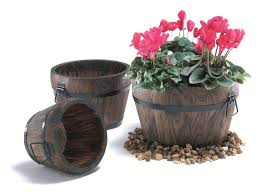 25cm pine wood burnt small curved barrel planter with handles 12 99