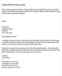 formal job offer letter acceptance of thank you letter for job