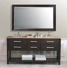 Black Painted Bathroom Cabinets Open View Modern Bathroom Interior Decor Using Walnut Double Sink