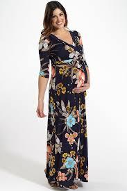 Maternity Drape Dress Navy Blue Floral Draped 3 4 Sleeve Maternity Maxi Dress