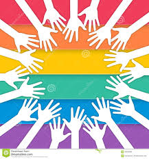 Pride Flag Colors Hands Raising With Pride Flag Stock Vector Image 56583089