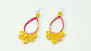 quiling earrings quilling earring yellow pink quilled jhumkas with