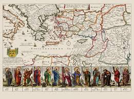 Map Of Mediterranean Europe by Old Mediterranean Map Apostles Travels Voyages 1680