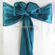 chair bows 100 teal blue satin chair sash wedding party supply hot