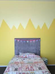 zig zag mountain half wall paint design yellow girls room ticked