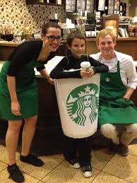 starbucks halloween costume made out of a laundry hamper turned